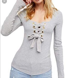 Free People NWOT gray Lace Up Corset top size med